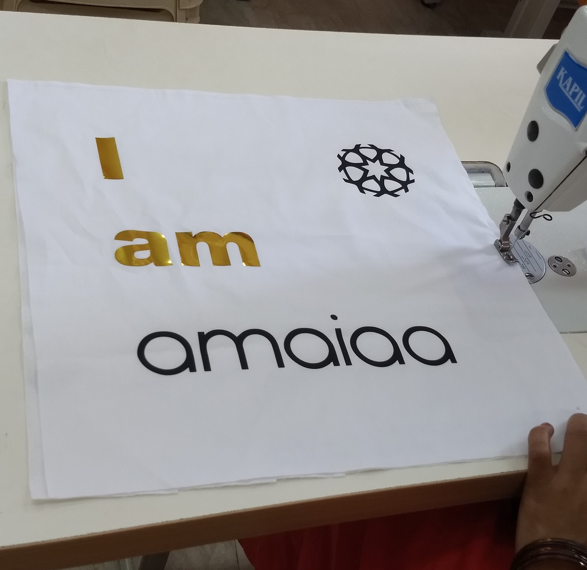 amaiaa beauty tote bags being created